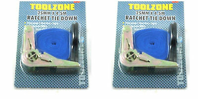 25Mm X 4.5M Ratchet Tie Down Straps x 2 for vehicles, luggage, etc