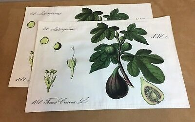 Two Placemats, French Country, Leaves & Vegetables, Ivory, Green, Purple
