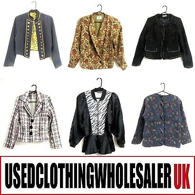 28 WOMEN'S MIXED VINTAGE DRESS JACKETS WHOLESALE CLOTHING 80's FASHION JOBLOT