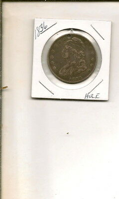 1836 90% Silver Capped Bust Half Dollar! Holed! #7Q18-55