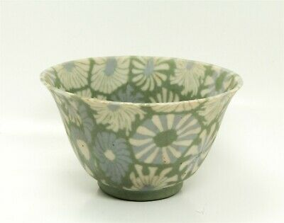 Unusual Vintage Early 20c Asian Floral Mosaic Porcelain Bowl