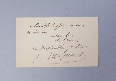 Estate Found Signed Calling Card French Composer Jules Massenet Autograph