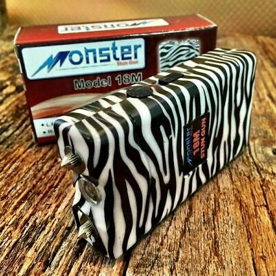 MONSTER 18 Million Volt Stun Gun Rechargeable LED light Self Defense B&W ZEBRA-W