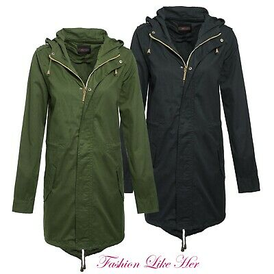 LADIES JACKET LIGHTWEIGHT WOMENS PARKA COAT BRAVE SOUL HOODED MILITARY FISH TAIL
