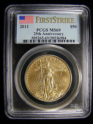 2011 $50 (1oz) GOLD AMERICAN EAGLE PCGS MS69 First Strike