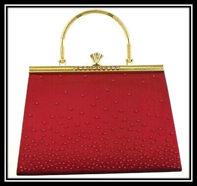 8bfec3fc10f Farfalla Beaded Sequin Satin Evening Shoulder Clutch Pouch Bags 90315 Red