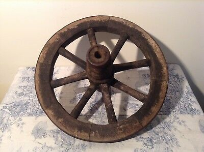WOODEN CART WAGON WHEEL - French Vintage Reclaimed Salvage (2985)