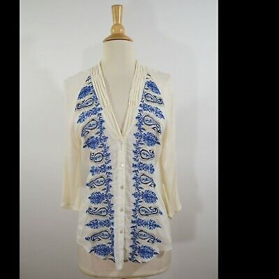 a59364ef4e06 TINY ANTHROPOLOGIE Blue Ivory Embroidered Elbow Sleeve Blouse Top S