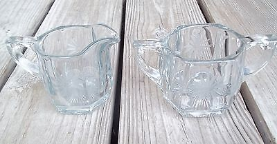 Vintage Sugar Creamer Hexagon Engraved Flower Clear Cut Glass Starburst Bottom