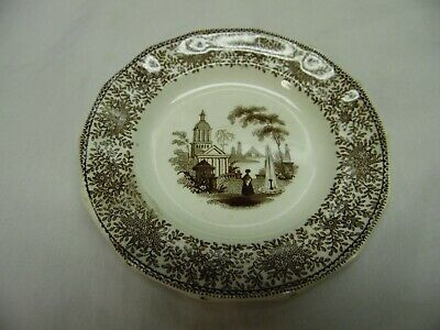Rare Antique Brown Transferware Childs Toy Cup Plate / 1800's / Isola Bella  # 2