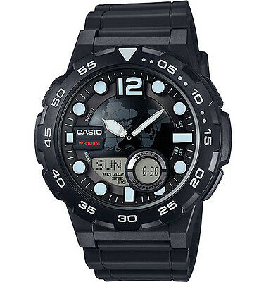 Casio AEQ100W-1AV,  Databank 30 Watch, 100M, 3 Alarms, Chronograph, Resin