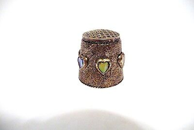 Thimble Textured Pewter W/6 Abalone Hearts In Hi-Relief