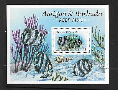 "BARBUDA Sc 866 NH SOUVENIR SHEET OF 1987 - SEA LIFE. ""BARBUDA MAIL"" OVPR. Sc$125"