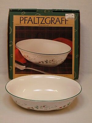 Pfaltzgraff Winterberry Oval Vegetable Bowl Holiday Christmas Holly Berry Dish