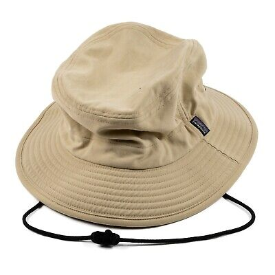 07b16838 Patagonia Outdoors Bucket Hat Fishing Hiking Full Brim Cap Tan Chinstrap  Size L