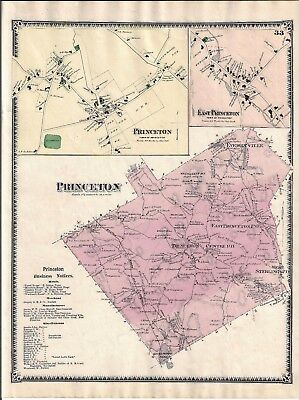 Vintage 1870 Princeton, Ma. Map That Was Removed From The Beer's 1870 Atlas