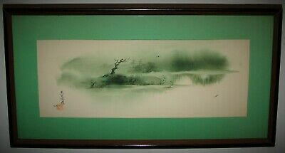 Vintage Framed Japanese Landscape Scenery Watercolor Painting Signed Buffy Murai