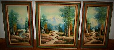 Vtg 3 Piece Set Framed ANTONIO Oil Paintings on Canvas Landscape Mountain Stream