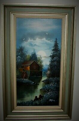 Framed Oil Painting on Canvas Grist Mill Watermill 12x24 Artist Signed Peters