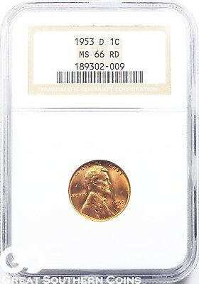 1953-D NGC Lincoln Cent Wheat Penny, Red, MS 66 RD