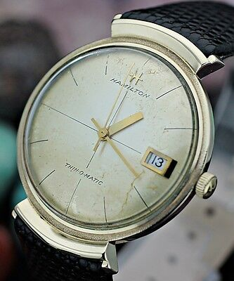 Vintage HAMILTON Thin-O-Matic Automatic 10K Gold Filled Hooded Lugs Men's Watch