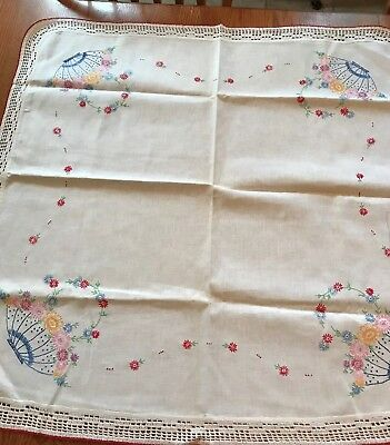 """Sweet Vintage Hand Embroidered White Cotton Tablecloth 38"""" by 36"""" Flower Baskets"""