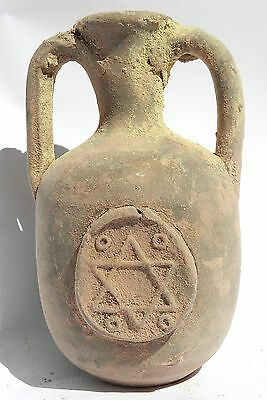 Ancient Terracotta Holy Land pottery Jug Clay Jerusalem Wine Water Font Vessel