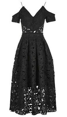 249ec1073868 Topshop Black Laser Cut Bardot Cold Shoulder Prom Dress BNWT Tall 12 Luxe  Midi