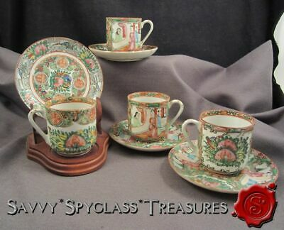 FOUR Chinese Rose Medallion Vintage Demitasse Cups and Saucers