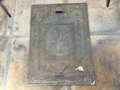 Antique Fireplace Summer Cover Cast Iron Ornate High Relief Flowers Floral