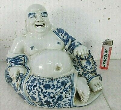 charmanter Happy Dicker Buddha altes Porzellan blau weiß Mingh Stil China ~1970