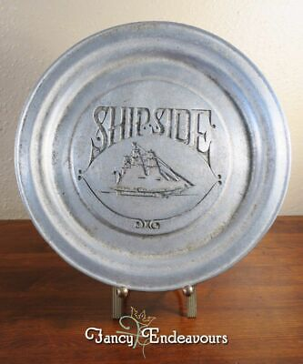 Vintage Shipside Ship Side Pewter Plate or Charger #0028 Clipper Ship