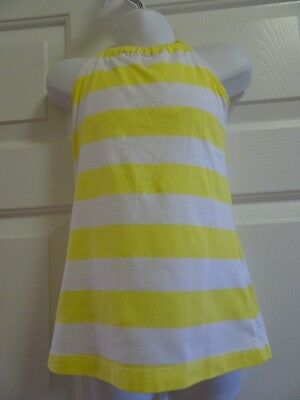 So Girls Size 7/8 Yellow/White Striped Tank/Halter Top-Built In Shelf Bra-Ecu