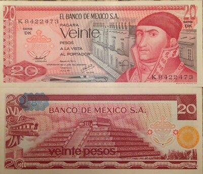Mexico 1977 20 Pesos Uncirculated Banknote Usa Seller P-64 Buy From Usa Seller