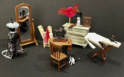 Dollhouse Miniature Antique Sewing Room Furniture Mannequin Mirror & Accessories