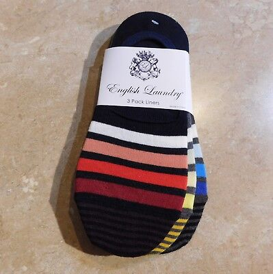 107  English Laundry 3 Pair Cotton Athletic Liner Peds Socks  Varying Colors