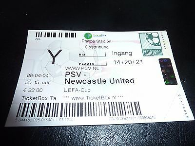 used ticket psv eindhoven - newcastle united  08/04/2004