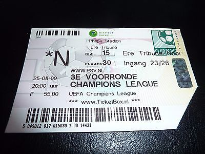 used ticket psv eindhoven  champions league 25/08/1999