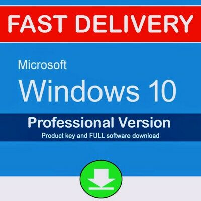 ✓Microsoft Windows 10 Pro Professional Key Vollversion Code 32/64 Bit Product