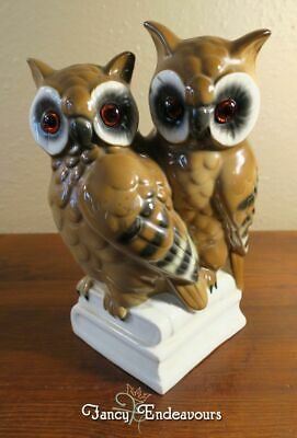 Gerold Porzellan Pair of Wise Owls on Books Lrg. Germany Porcelain Figurine