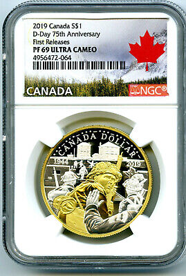 2019 Canada 1Oz Silver Ngc Pf69 Ucam Gilt 75Th D-Day Anniversary First Releases