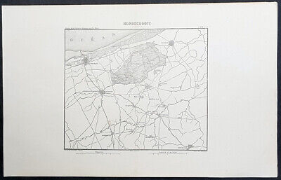 1846 M A Thiers Antique French Revolution Map Battle of Hondschoote 1793