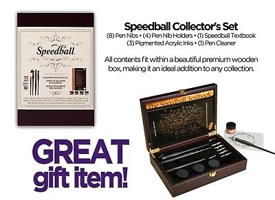 Speedball Calligraphy Collector's Set, Pen Holders, Nibs, Inks, Cleaner - Damage