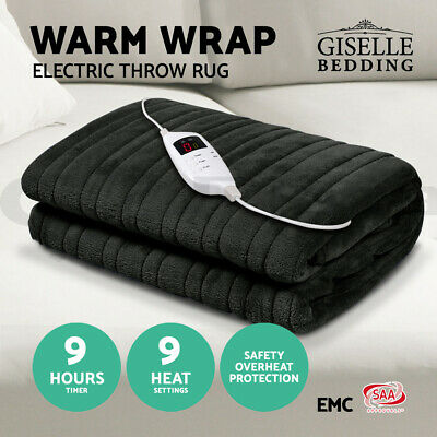 Giselle Bedding Washable Electric Heated Throw Rug Snuggle Blanket Coral Fleece
