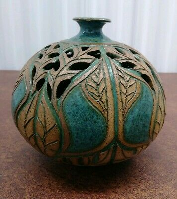 "Susan Brown Freeman Carved Reticulated vase 6"" (Alabama pottery) blue & brown"