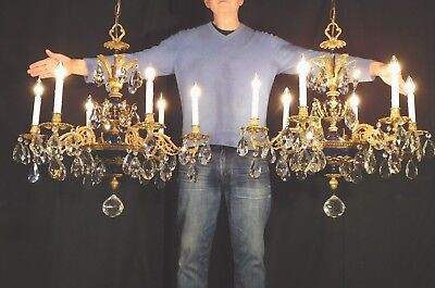 ANTIQUE French Regency Empire 6 Arm 6 Lite ROYAL BLUE Brass Chandelier 28W x 30T