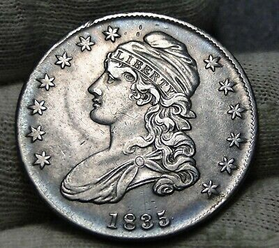 1835 Capped Bust Half Dollar 50 Cents, Nice Coin Free Shipping  (8008)