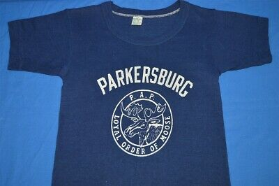 vtg 50s PARKERSBURG WV LOYAL ORDER OF MOOSE BLUE COTTON t-shirt YOUTH MEDIUM YM
