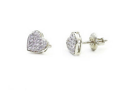 d80e513ff 10K White Gold Diamond Heart Stud Earrings Micro Pave Diamond Screw Backs  .10ct