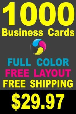 1000 Full Color Gloss Custom Business Cards - Plus FREE Shipping - $29.97